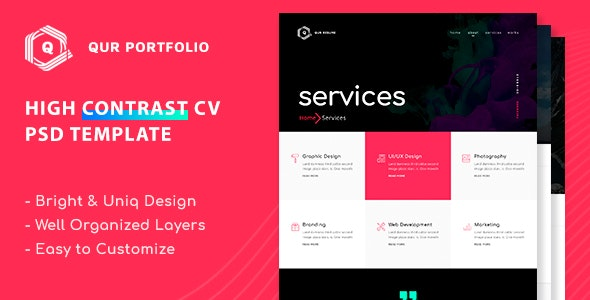 Qur - Personal CV/Resume PSD Template - Personal Photoshop