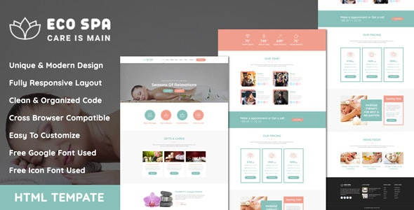 EcoSpa - Spa Center And Beauty Parlour HTML Template - Business Corporate