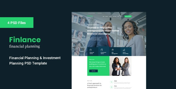 Finlance - PSD Template For Financial Planning - Business Corporate