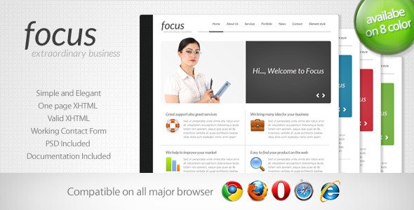 Focus - Simple One Page Template 2 - Corporate Site Templates