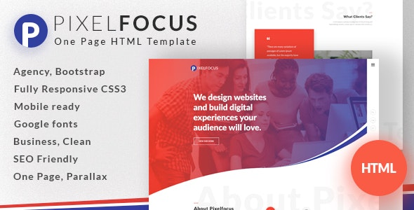 Pixelfocus - One Page HTML Template - Creative Site Templates