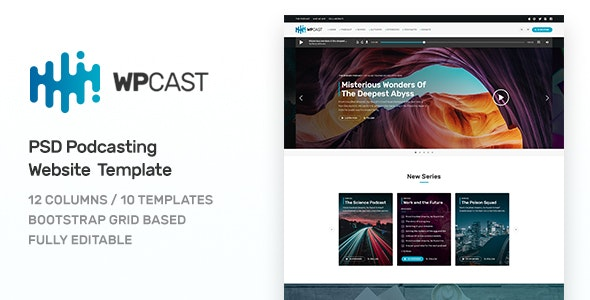 Wpcast - Podcasting PSD Template - Entertainment Photoshop