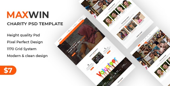 Maxwin - NonProfit Charity PSD Template - Nonprofit Photoshop