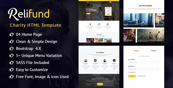 ReliFund - NonProfit Fundraising Charity HTML Template - Charity Nonprofit