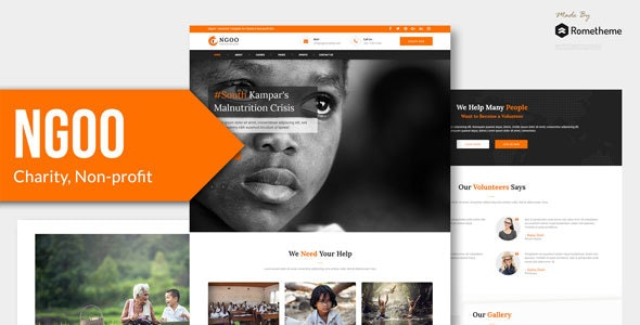 NGOO - Charity, Non-profit, and Fundraising PSD Template - Nonprofit Photoshop