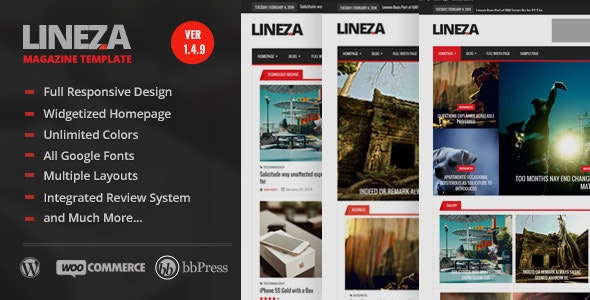 Lineza - Modern Responsive Magazine Theme - News / Editorial Blog / Magazine