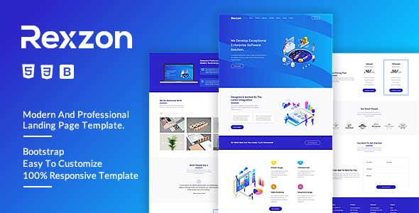 Rexzon - Responsive Software HTML5 Landing Page Template - Landing Pages Marketing