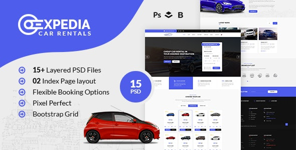 Xpedia- Car Rental PSD Template - Travel Retail