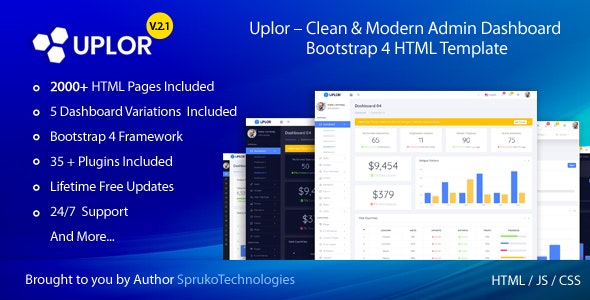 Uplor – Clean & Modern Admin Dashboard Bootstrap 4 HTML Template - Admin Templates Site Templates