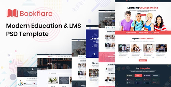Bookflare - A Modern Education & LMS PSD Template - Corporate PSD Templates