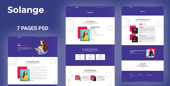 Solange - Modern Personal Resume PSD Template - Virtual Business Card Personal