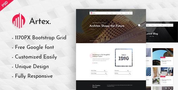 Artex - Photoshop Architecture Template - Photoshop UI Templates