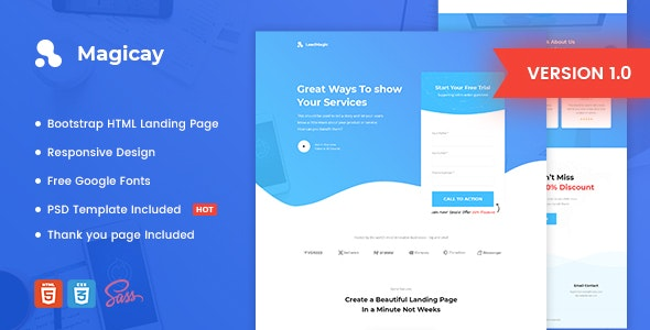 Magicay Business Html Landing Page Template By Morad