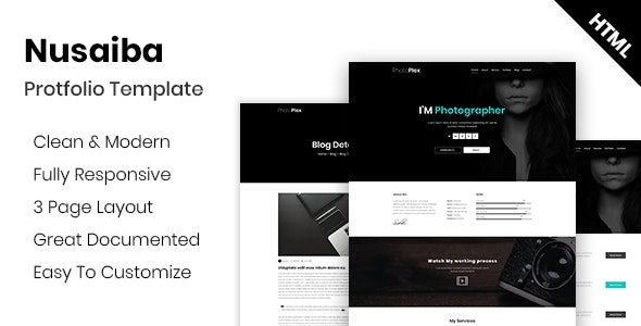 Nusaiba - Photography Portfolio HTML Template - Photography Creative