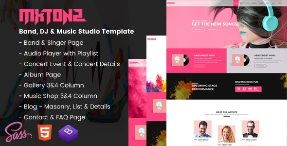 MxTonz - A Fresh Band, DJ & Music Studio Template - Entertainment Site Templates