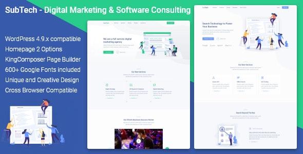 SubTech - Creative Portfolio & Digital Marketing Agency WordPress Theme - Marketing Corporate