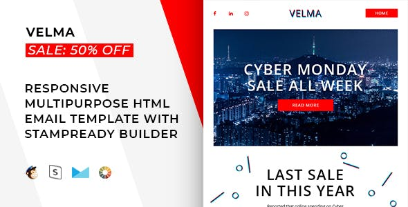 Velma – Responsive Email + StampReady, MailChimp & CampaignMonitor compatible files