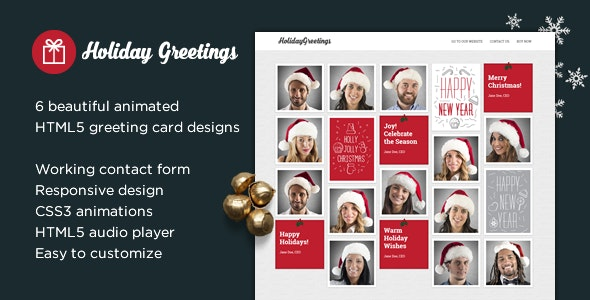 Holiday Greetings - Landing Page Greeting Card - Specialty Pages Site Templates