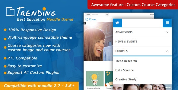 Trending - High Quality Responsive Moodle Theme by cmsbrand