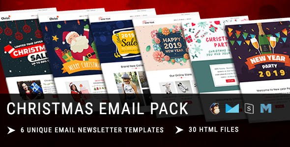 Christmas - New Year Responsive Email Template with Mailchimp Editor & Online StampReady Builder Acc