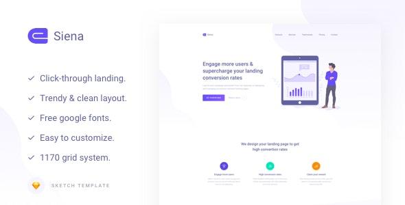 Siena - Marketing Landing Page Template - Sketch UI Templates