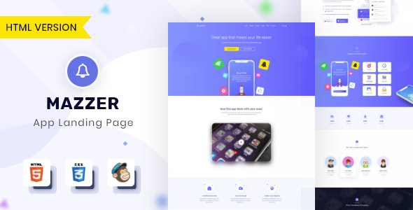 Mazzer - HTML5 App Landing Page - Software Technology
