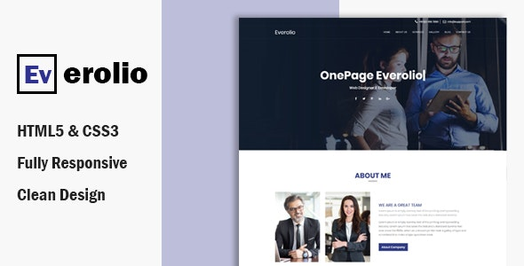 Everolio  – One Page HTML5 Bootstrap4 Template - Corporate Site Templates