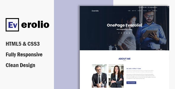 Everolio  – One Page HTML5 Bootstrap4 Template