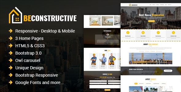 Be Constructive - One Page Construction HTML Template - Corporate Landing Pages