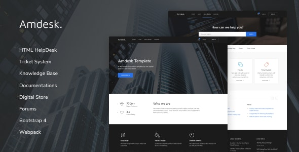 Amdesk - HelpDesk and Knowledge Base HTML template - Business Corporate
