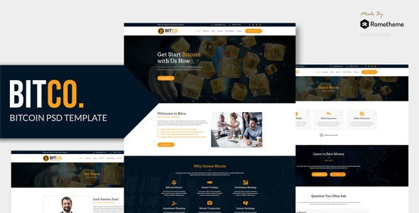 BITCO - Bitcoin and Cryptocurrency PSD Template - Corporate Photoshop