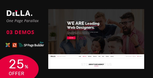 Della One Page Joomla Template For Digital Agency By Joomlabuff Themeforest