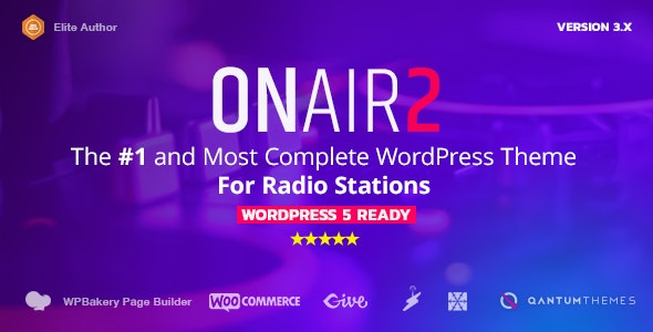 Onair2: Radio Station WordPress Theme With Non-Stop Music Player - Music and Bands Entertainment