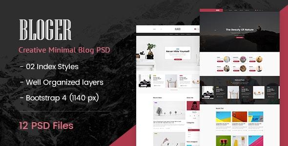 Bloger | Creative Minimal PSD Template - Personal Photoshop