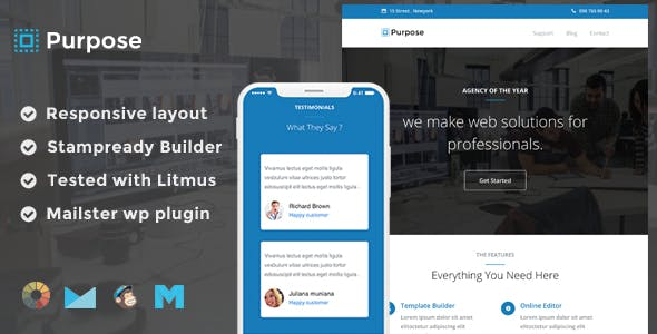 Purpose Responsive Email Template + Stampready Builder + Mailchimp + Mailster