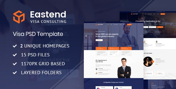Eastend - Visa Immigration Consulting PSD Template - Business Corporate