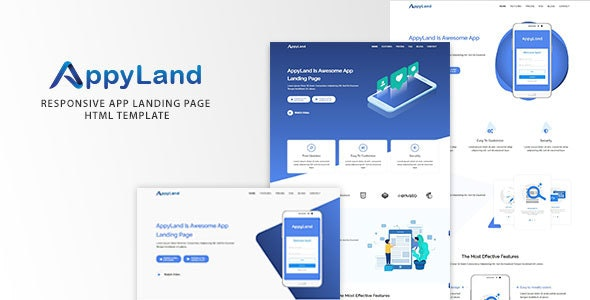 Appyland Responsive App Landing Page, HTML Template - Software Technology