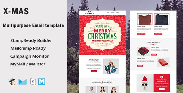 X-Mas - Multipurpose Responsive Email Template With Mailchimp Editor & Online StampReady Builder Acc