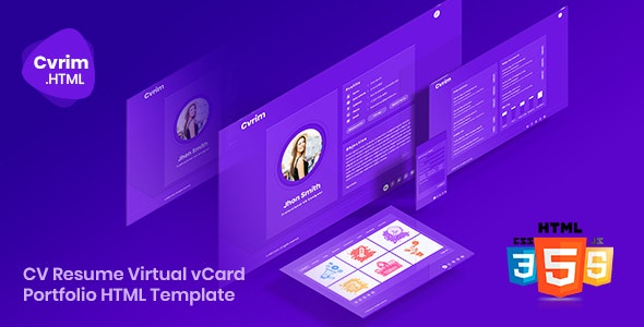 Cvrim - CV Resume Virtual vCard Portfolio HTML5 Template - Virtual Business Card Personal
