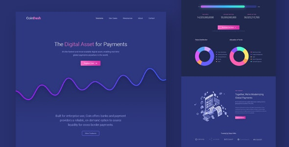 Cryptocurrency Saas Landing Page Template - Coindash - Technology Landing Pages