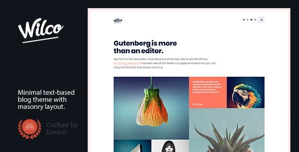 Wilco - Content Focused, Typography Blog Theme - Personal Blog / Magazine