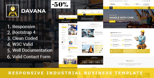 Davana - Responsive Factory & Industrial Business HTML Template - Business Corporate