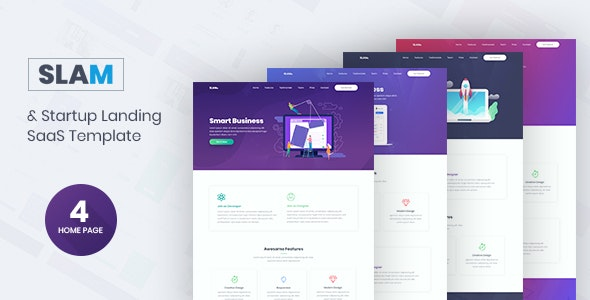 Slam - Startup and SaaS Template - Business Corporate