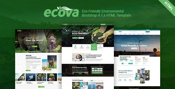 Ecova - Eco Environmental Bootstrap 4 Template - Environmental Nonprofit