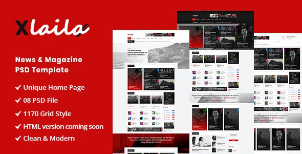 Xlaila - Magazine & Newspaper PSD Template - Miscellaneous Photoshop