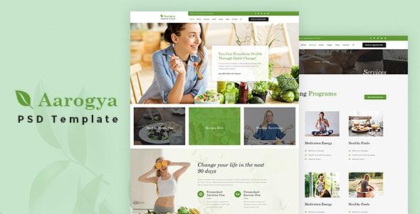 Aarogya | Health Coach and Nutrition, Dietitian PSD Template - Health & Beauty Retail