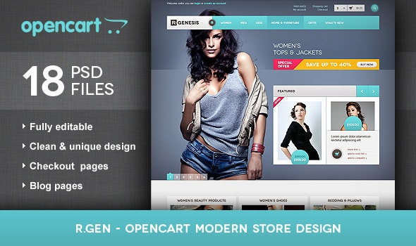 R.Gen - OpenCart Modern Store Design PSD - Retail Photoshop