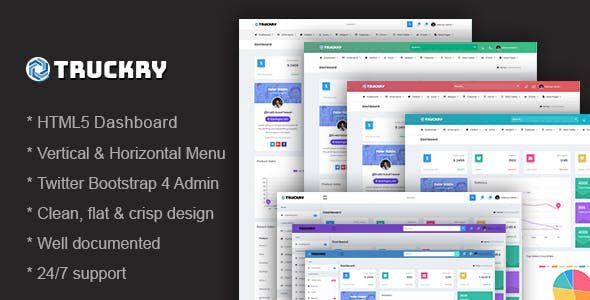 Truckry - Responsive Bootstrap 4 Admin Dashboard