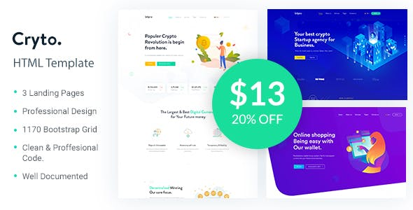 Cryto - Bitcoin & Cryptocurrency Landing Page HTML Template