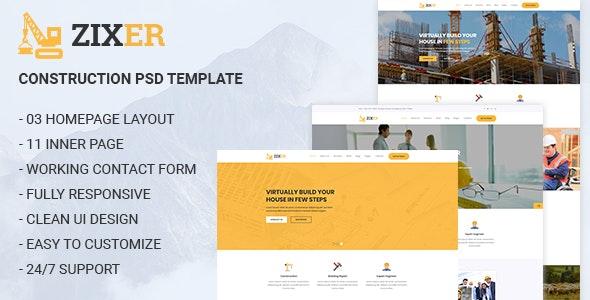 ZIXER - Construction Building Company Template - Business Corporate
